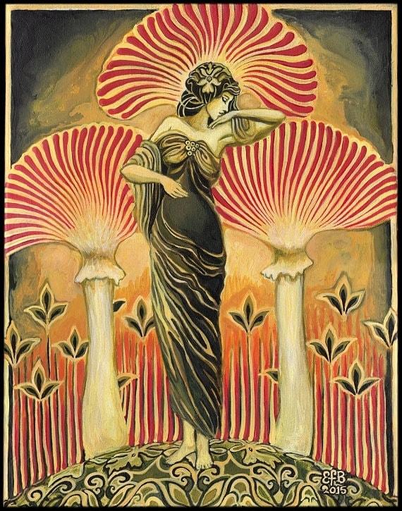 Soma Goddess 11x14 Print Pagan Mythology Art Deco Art Nouveau