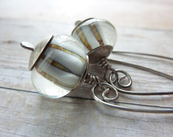 Sterling Silver Drop Earrings Lampwork Beads Natural Color Long Neutral Boho Bohemian Contemporary