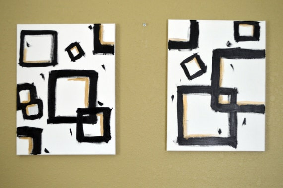 Black & Gold Abstract Minimalist Geometric Squares on White