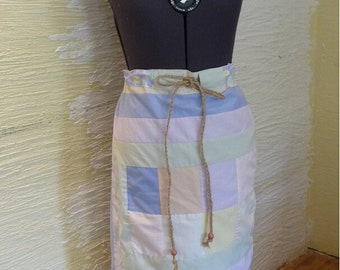 Pastel Patchwork Skirt, Handmade Skirt, Unique Clothing, Recycled Fabrics, Drawstring Belt,Wooden Beads,Spring Summer,Hippie Boho,Adjustable