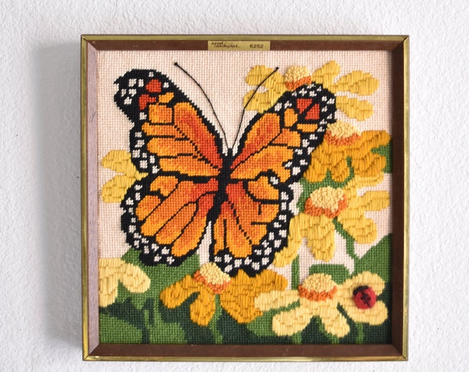 framed mid century embroidered monarch butterfly wall art