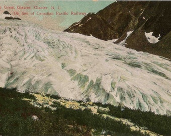Antique 1907 Postcard From the Canadian Pacific Railway of The Great Glacier in Glacier British Columbia Canada