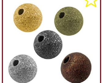 Pack of 1000 beads, 4 mm, round metal gold Bronze, silver embossed / texture for jewelry making, necklaces, bracelets etc.