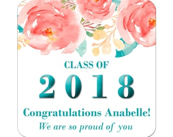 Graduation Labels Class of 2018 / Custom Personalized Stickers / Floral Stickers / Party Favors / College University High School Grads