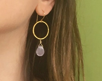 Gold Hoop Earrings with Pink Chalcedony Drops   Simple Gold Hoop Earrings with Dangling Pink Chalcedony   Ballet Pink Chalcedony Earrings