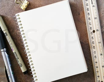 Sketchbook Journal, Ruler & Pens Styled Stock Photography, Stock Photos Digital Download, Digital Paper, Scrapbook Journal Paper, Wall Art