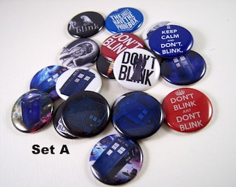 """Whovian Pins, Magnets or Flat Back Buttons, 1 inch, 1.25 inch, 2.25"""" inch, Different Designs Available, Choose your Set, Dr Who Magnets"""