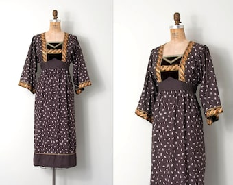 vintage 1970s dress /  brown 70s prairie dress / Lucie Linden