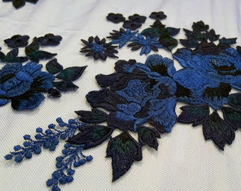 Blue flower embroidered  #1928