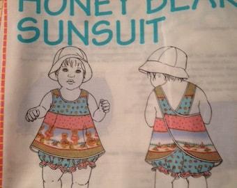 Girls Honey Bear Sunsuit fabric pattern in 4 sizes