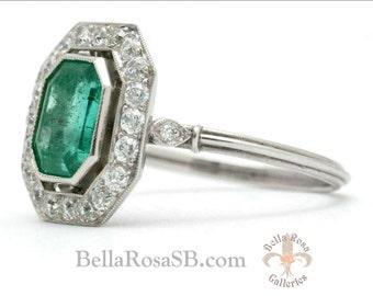 3ct Emerald Art Deco Diamond Halo Platinum Engagement Ring Bezel Set Heirloom Vintage Antique Jewelry Emerald Cut Colombian Green Emerald