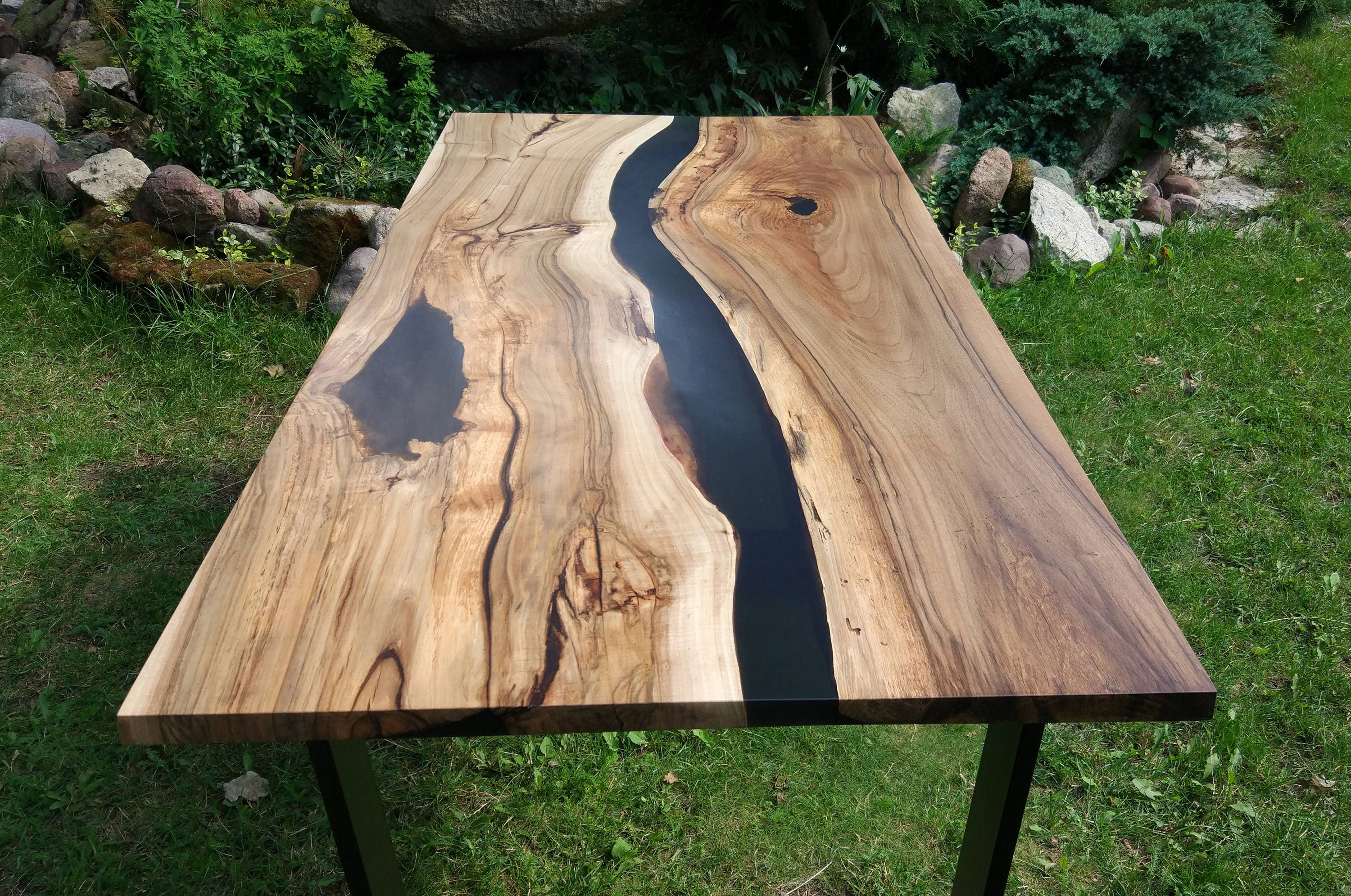 Sold Live Edge River Walnut Table With Black Epoxy Sold