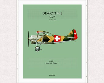 Poster, printable poster for decoration, instant download, wall decor printable, airplane poster, digital drawing aircraft DEWOITINE D27