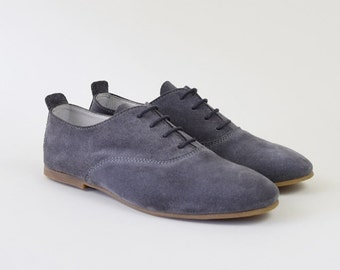 Grey Suede Oxford Shoes