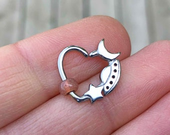 Star Moon Spaceship Silver Daith Earring Rook Piercing Hoop