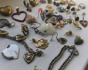 73 pc Heart Detash Lot Mixed Metals Vintage Craft Upcycle Jewelry Charm Collection Earrings Quartz Bracelet Repurposing Supplies Necklace
