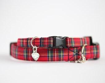 Red Tartan Small Dog or Puppy Collar