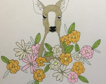 Deer Mom. Drawing is unframed and is 14x17in