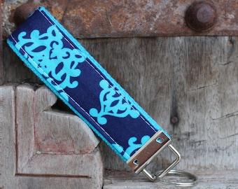 READY TO SHIP-Beautiful Key Fob/Keychain/Wristlet-Turq Damask On Turq
