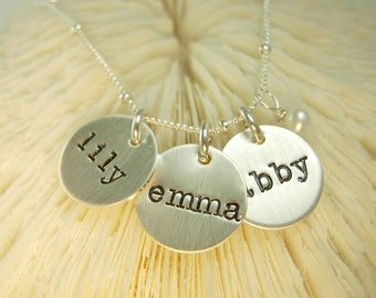 Silver Name Necklace - Engraved Necklace - Personalized Mothers Necklace - Hand Stamped Necklace