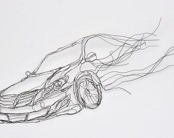 Wire Sculpture 2D Fast Car: 11in Hyundai Genesis Wall Art by Elizabeth Berrien, internationally acclaimed wire sculptor