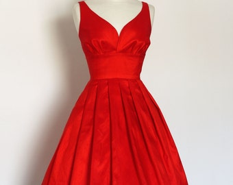 Scarlet Red Silk Dupion Prom Dress - Made by Dig For Victory