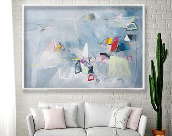 Large Abstract Art Grey Wall art Geometric art Abstract painting modern cool urban print by Duealberi