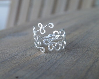 """Toe ring... """"Fern Gully"""" silver wire wrapped toe ring."""