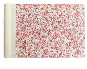 Small photo album, spiral bound with linen hinge and pink Florentine motif
