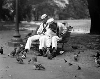 "1924 Two Sailors Feeding Pigeons Vintage Photograph 8.5"" x 11"" Reprint"