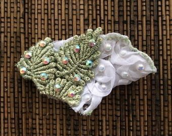 White and Green Rhinestoned Hair Accessory
