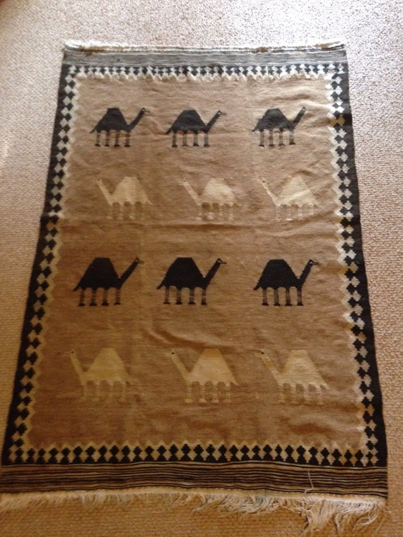Hand Woven Azerbaijani Antique Camel Wool Caravan Rug or Carpet