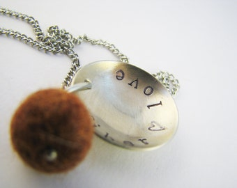 Necklace for Fiber Lovers - Stamped Nickel Silver Disc with Pewter Charm