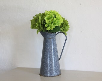 Antique French Enamel Pitcher/ Jug  Marbled Gray
