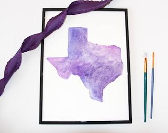 Shades of Purple Texas Watercolor, Custom State Watercolor