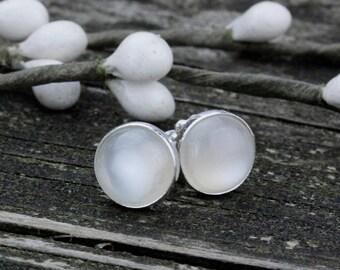 Natural moonstone sterling silver large stud earrings