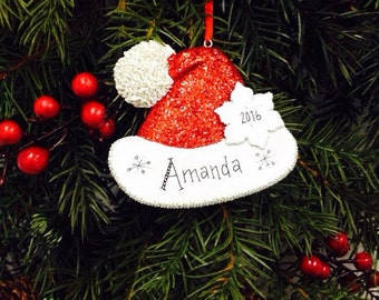 Sparkly Santa Hat Personalized Christmas Ornament / Glitter Santa Hat Ornament / Santa Christmas Ornament