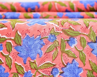 Flower Hand Block Print Fabric, Indian Cotton Fabric, Printed Cotton Fabric, Cotton Print Fabric, Printed Fabric, Block Print Fabric By Yard