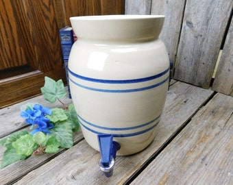 Vintage Marshall Pottery Crock Water Cooler With Spigot - Marshall, Texas