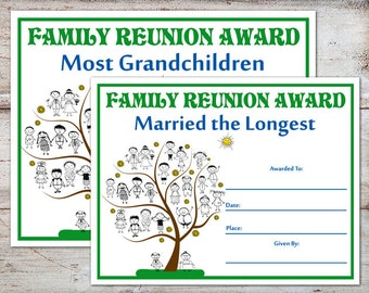 Family reunion favor etsy family reunion awards family reunion certificates family reunion family parties family awards yelopaper Images