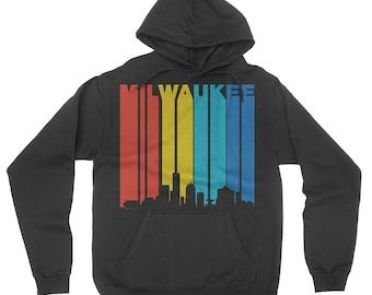 Vintage Retro 1970's Style Milwaukee Wisconsin Downtown Skyline Hoodie