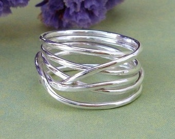 Sterling silver wrap ring. wrapped wire ring. infinity ring. wrapped ring. silver nest ring