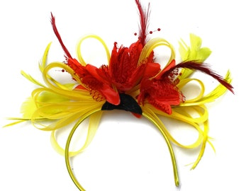 Bright Yellow & Scarlet Red Feathers Fascinator on Headband