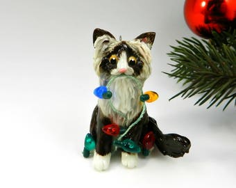 Ragdoll Cat Sealpoint Porcelain Christmas Ornament Figurine Lights