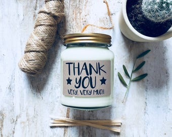 Thank You Very Very Much Scented Natural Soy Candle , thank you gift , thanks , thank you candle