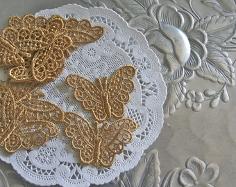 6 Gold Butterfly Venise Lace Applique