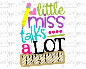 Little miss talks a lot svg, back to school  kindergarten cut file, socuteappliques, silhouette cut file, cameo file