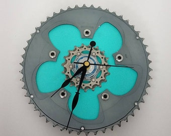 Bicycle Gear Wall Clock Aqua Blue, Bicycle Gifts, Bike Gear Clock, Gifts for Cyclists, Bicycle Gift for Him, Wall Clocks, Gifts for Her