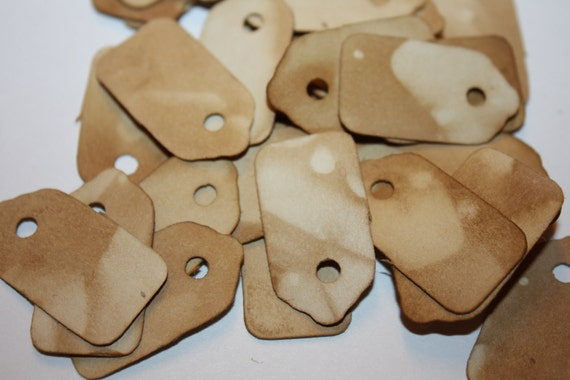 100 Extra Small Tea Stained Tags
