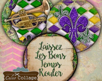 2.5 Inch Circles, Pocket Mirror Images, Mardi Gras, Fat Tuesday, NOLA, Printable Circles, Calico Collage, Digital Circles, Digital, Collage